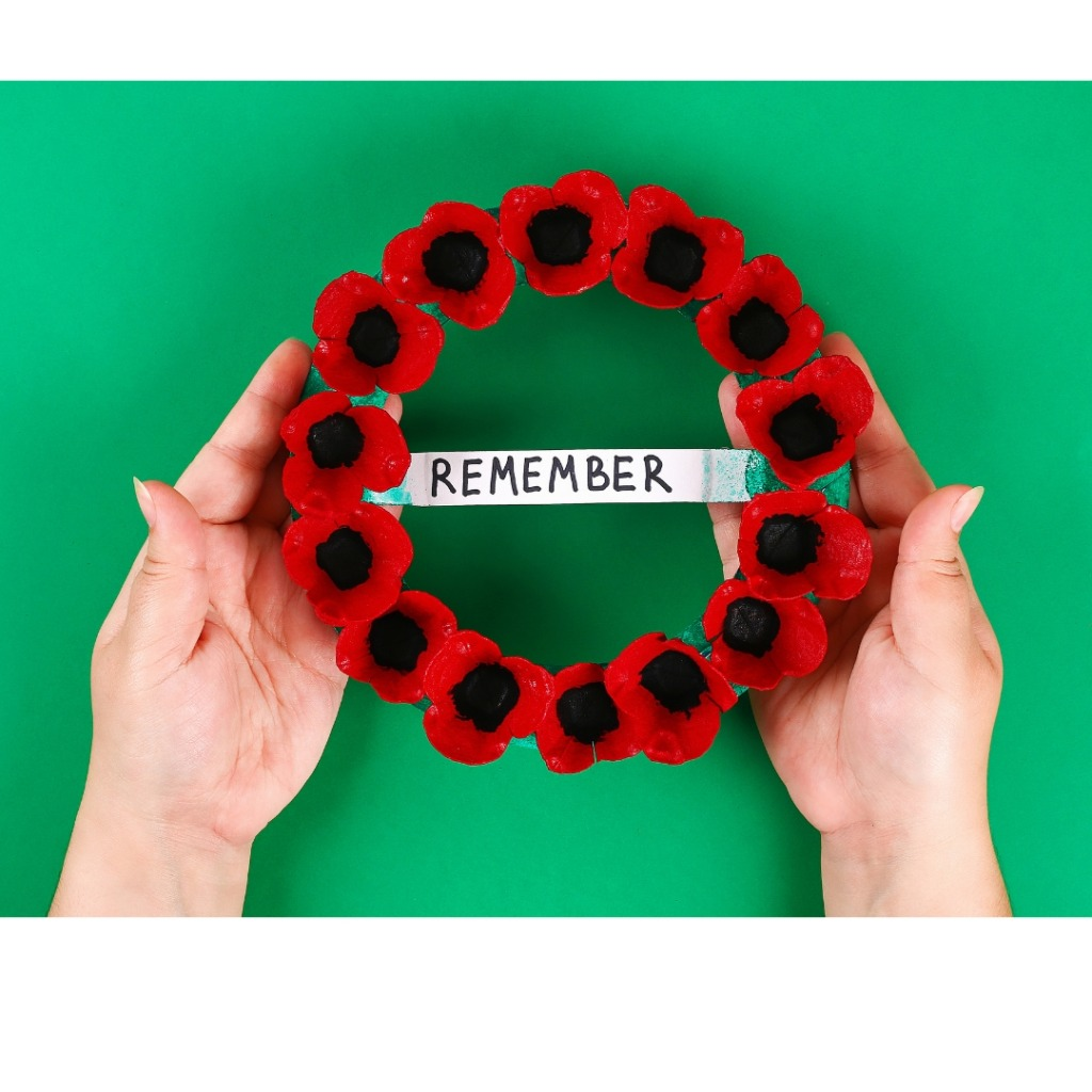 poppy wreath with remember banner